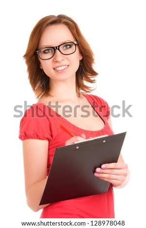 Young woman holding clipboard