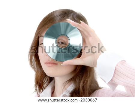 Young Woman Holding Compact Disc over white background