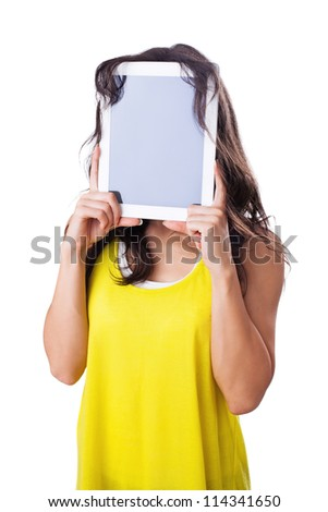 Young woman holding Digital Tablet in front of the face