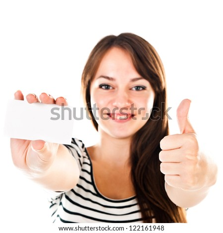 young woman holding empty card - stock photo