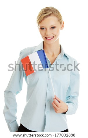 Young woman holding France flag - isolated on white - stock photo