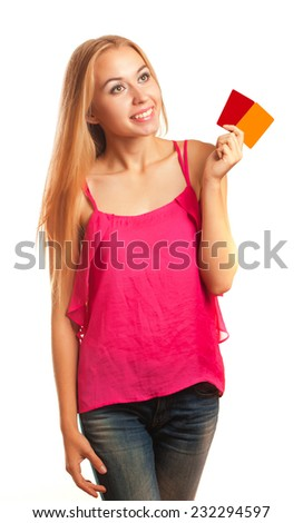 young woman holding  gift cards isolated on white