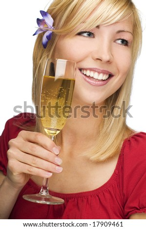 young woman holding glass of champagne close up