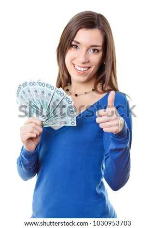 Young woman holding money polish zloty pln