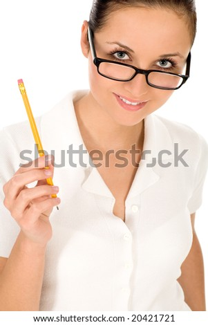 Young woman holding pencil - stock photo