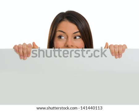 Young Woman Holding Placard Over White Background