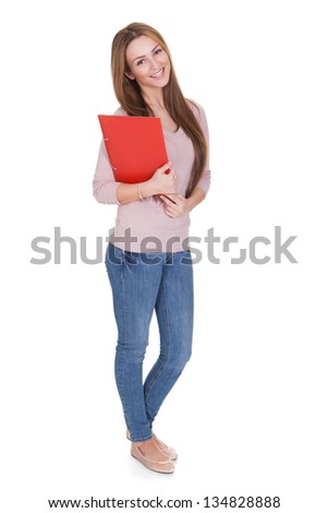 Young Woman Holding Red Folder Over White Background - stock photo