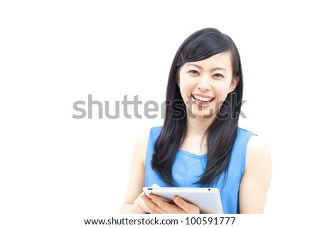 Young woman holding  tablet computer, isolated on white background