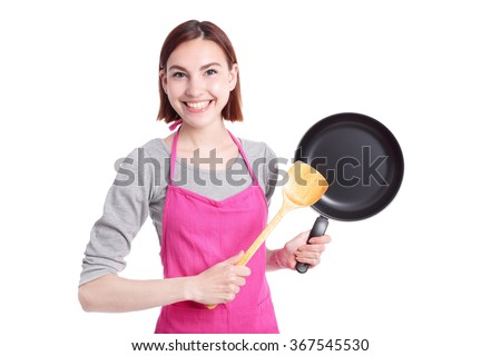 Young woman housewife mother wearing kitchen apron cooking, isolated on white background, caucasian - stock photo