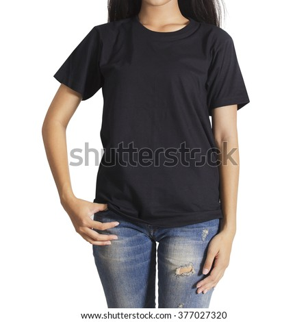 Young woman in a blue jeans and black T-shirt on white background - stock photo
