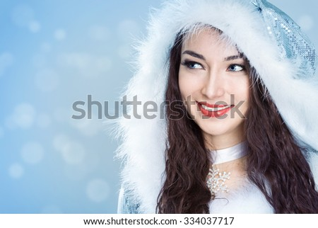 young woman in a Christmas costume