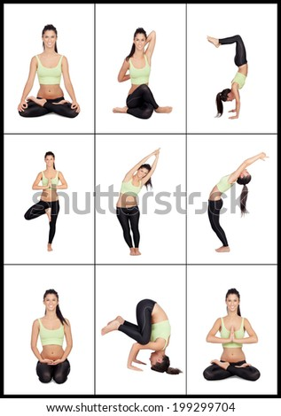 Young woman in a collage with various stretching postures isolated on a white background - stock photo