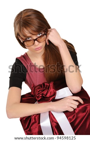 young woman in a red gift box - stock photo