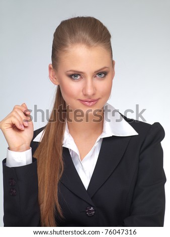 young woman in a suit