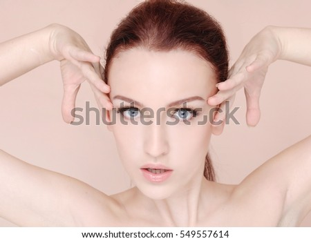 Young woman in beauty concept isolated