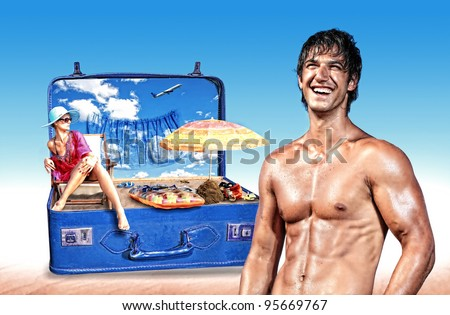 Young woman in bikini in a pink suitcase with muscular man standing in front  - Travel concept