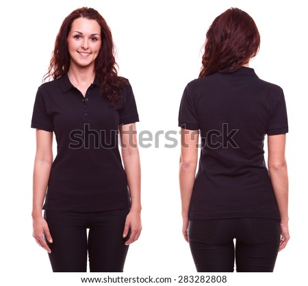 Young woman in black polo shirt on white background - stock photo