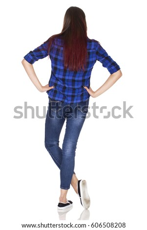 Young woman in blue back portrait