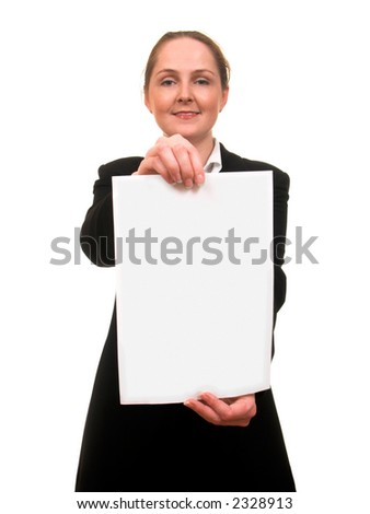 Young woman in business suite showing a sheet of paper smiling isolated on white - stock photo