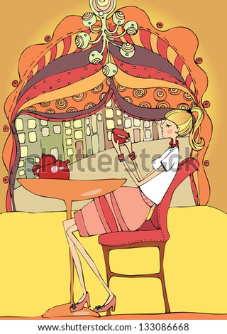 Young woman in cafe relaxing and enjoying a good cup of tea. - stock photo