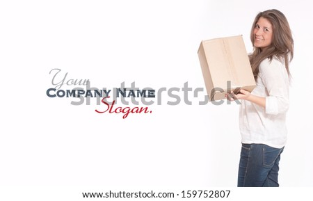 Young woman in casual clothes carrying a box