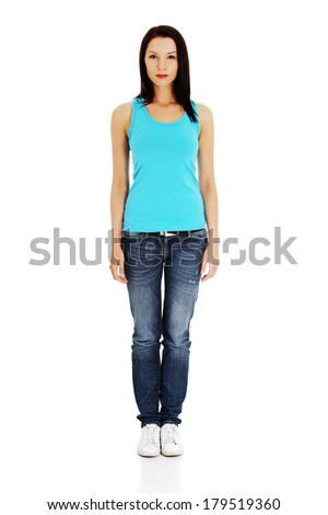 Young woman in casual clothes, isolated on white  - stock photo