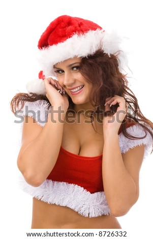 young woman in christmas fancy dress on white background