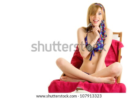 young woman in colorful bikini sitting, walking, relaxing various expression series.