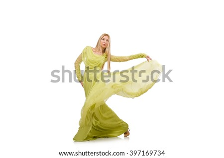 Young woman in elegant long green dress isolated on white - stock photo