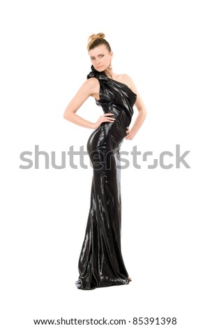 Young woman in evening dress. Isolated on white - stock photo
