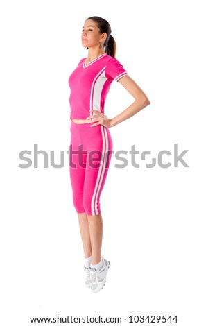 Young woman in fitness - stock photo