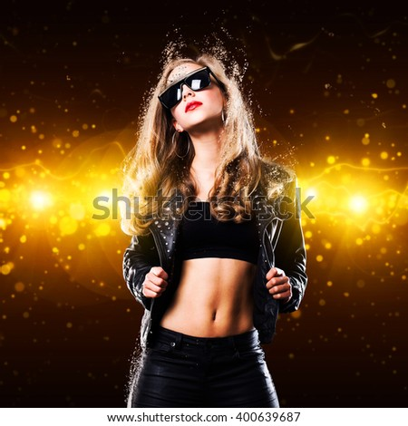 young woman in front of a club background
