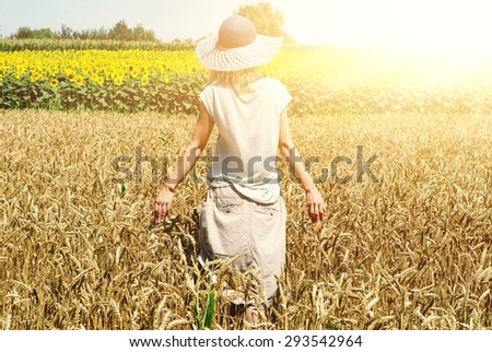 Young woman in golden wheat  - stock photo
