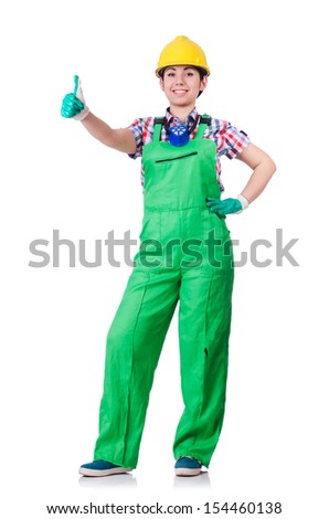 Young woman in green coveralls - stock photo