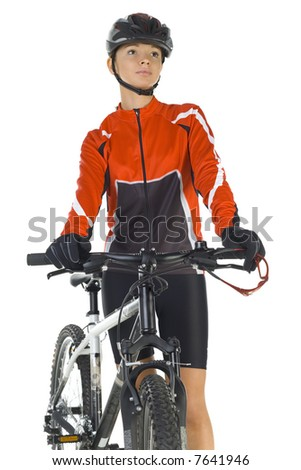 Young woman in helmet, standing next to mountain bike. White background, front view - stock photo