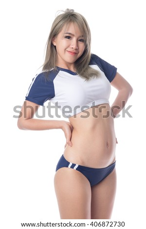 Young woman in japanese anime cosplay, japanese school sport wear. - stock photo