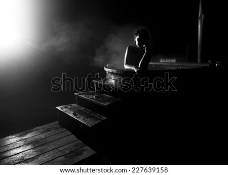 young woman in japanese bath - stock photo