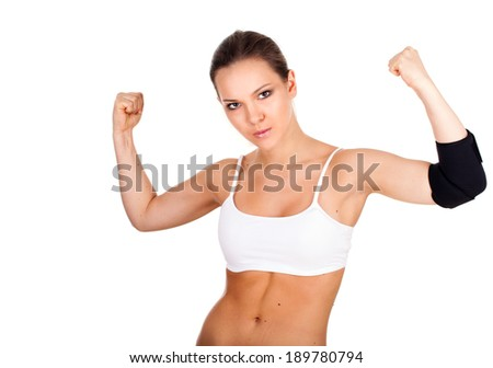 young woman in medical bandage, elbow support, white background