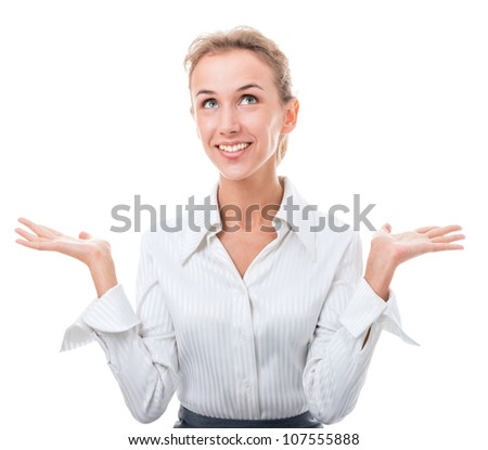 young woman in office attire. The figure is isolated on a white background with the clipping path - stock photo