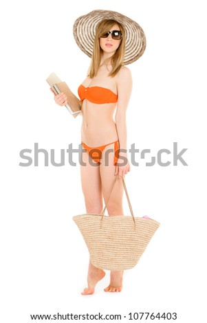 young woman in orange bikini sitting, walking, relaxing various expression series
