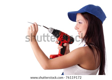 Young woman in overalls with screw and screwdriver on a white background.
