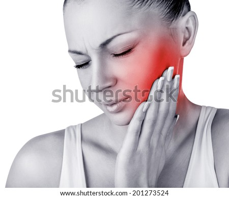 Young woman in pain is having a toothache isolated on white background - stock photo