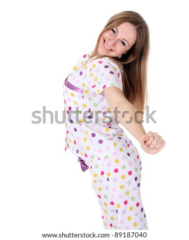 young woman in pajamas
