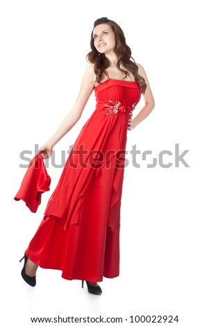 Young woman in red dress with a shawl. Isolated on a white background. Studio shot