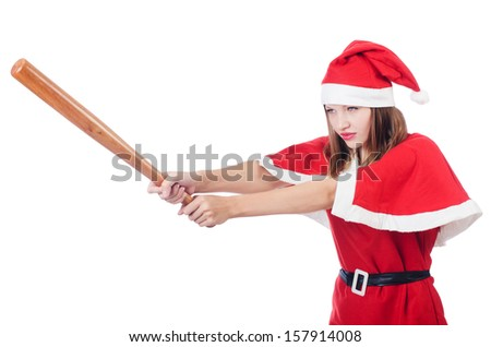 Young woman in red santa costume on white - stock photo
