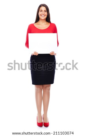 Young woman in red showing empty Blank sign copyspace Isolated on White - stock photo