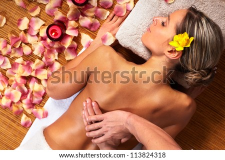 Young woman in Spa massage salon. Relax. - stock photo