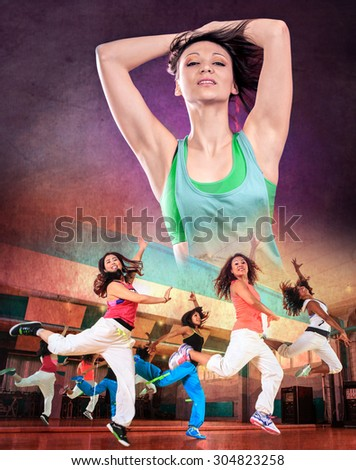 young woman in sport dress dancing fitness dance - stock photo