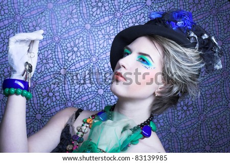 Young woman in stage image of detective.