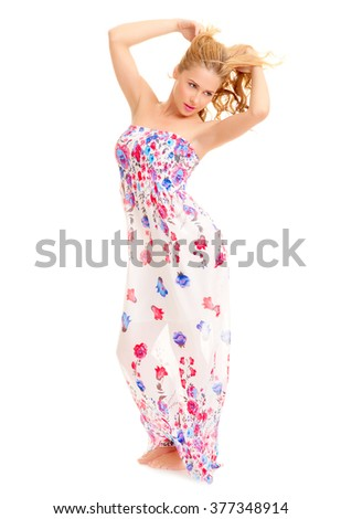 Young woman in sundress isolated - stock photo